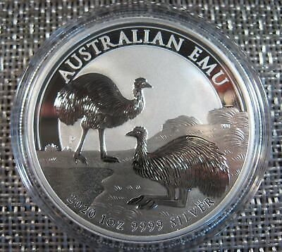 2020 AUSTRALIA 1 Oz SILVER EMU - LOW 30,000 MINTAGE - BRILLIANT UNCIRCULATED!
