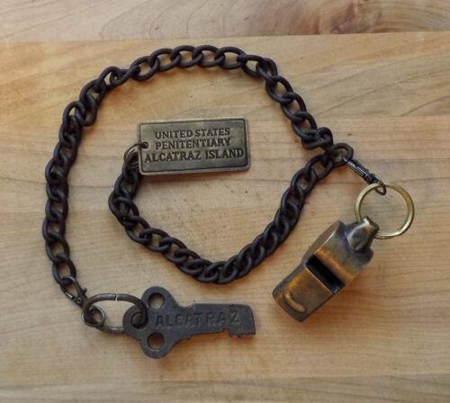 Alcatraz Prison Guard Iron Cell Key, Tag & Solid Brass Whistle