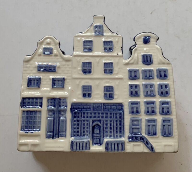 """Blue & White Delft Napkin Holder Holland 5 3/4"""" Tall 5 1/4"""" Across"""