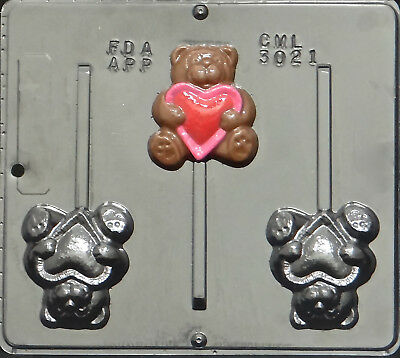 Bear with Heart Lollipop Chocolate Candy Mold Valentine  3021 NEW