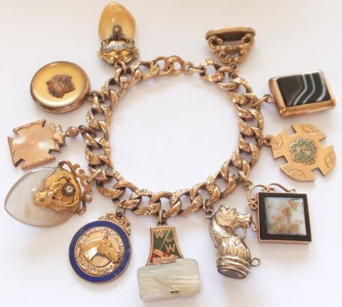 Antique Gold Charm Bracelet: CHUNKY ANTIQUE VICTORIAN GOLD FILLED ENAMEL LOCKET HORSE