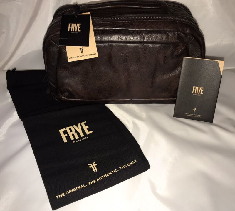 New FRYE Leather Murray Travel Case Dark Brown 2-Zipper Pockets MSRP $198.00