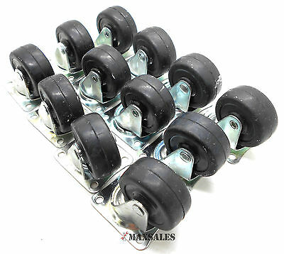 Qty-12 2 Swivel Caster Wheels Hard Rubber Base With Top Plate Bearing