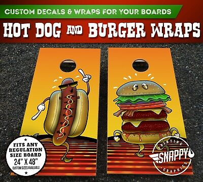 Hot Dog and Burger Cornhole Vinyl Decals Bag Toss Illustrated Custom Board -