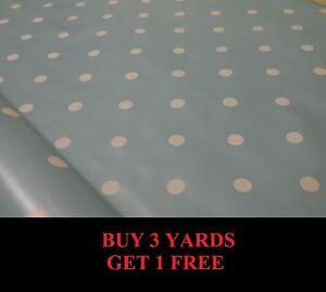 Duck Egg Blue White Polka Dot Spot Tablecloth Vinyl PVC Oilcloth Fabric Material
