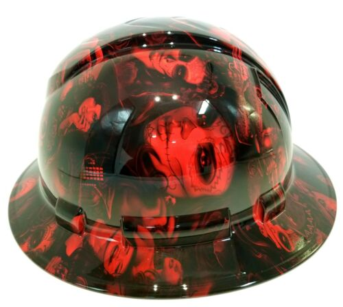 FULL BRIM Hard Hat custom hydro dipped, NEW CANDY  RADIOACTIVE RED BANDITO GIRLS 3