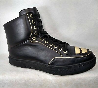 Alejandro Ingelmo Black Leather Gold Trimmed Jeddi High-Tops Sneakers Men US 9