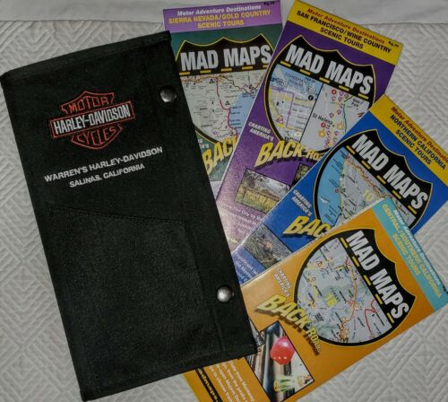 HARLEY DAVIDSON Map Case Folder + CA Pacific Coast MAD MAPS Back Roads 4 Pack