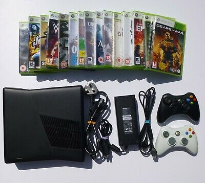 XBOX 360 SLIM 120GB CONSOLE BUNDLE 2 CONTROLLERS 15 GAMES GOW FIFA HALO COD