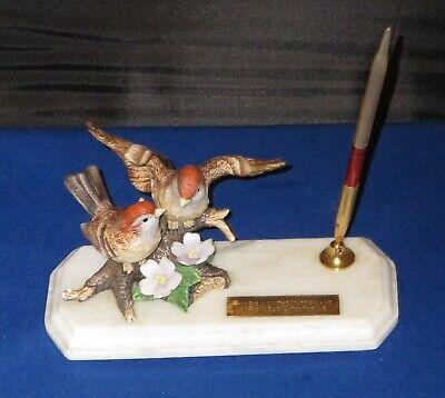 Mid Century Desk Set Pen Holder Marble Sparrows