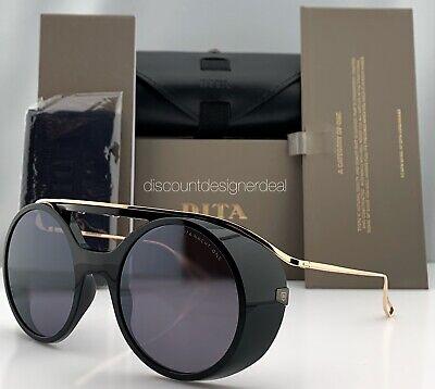 DITA NACHT ONE Round Sunglasses DTS108-56-01 Black Gold Gray Flash 56mm Large
