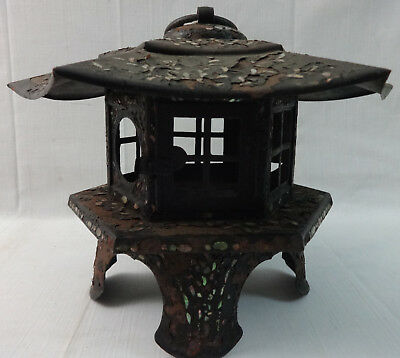 Antique Sheet Iron & Tin Pagoda Shaped Garden Lantern Inlaid w/Mother of Pearl