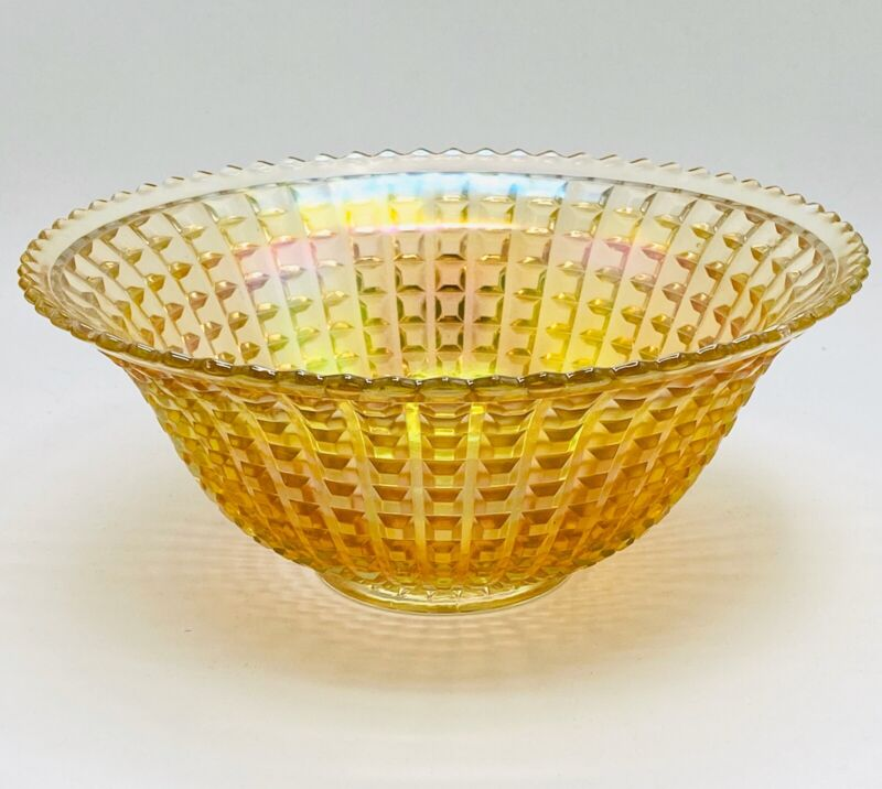 """Carnival Glass Bowl Vintage Imperial 1910 11 Inch """"Waffle Block"""" RARE Clambroth"""