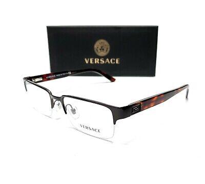 Versace VE1184 1269 Brushed Brown Demo Lens Men Rectangle Eyeglasses Frame 53-18