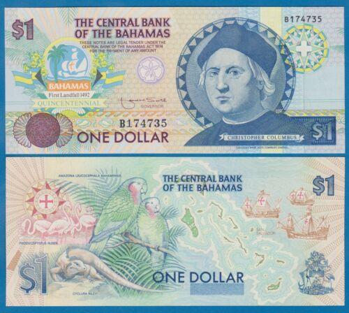 Bahamas 1 Dollars UNC P 50a Columbus Commemorative Low Shipping! Combine FREE!