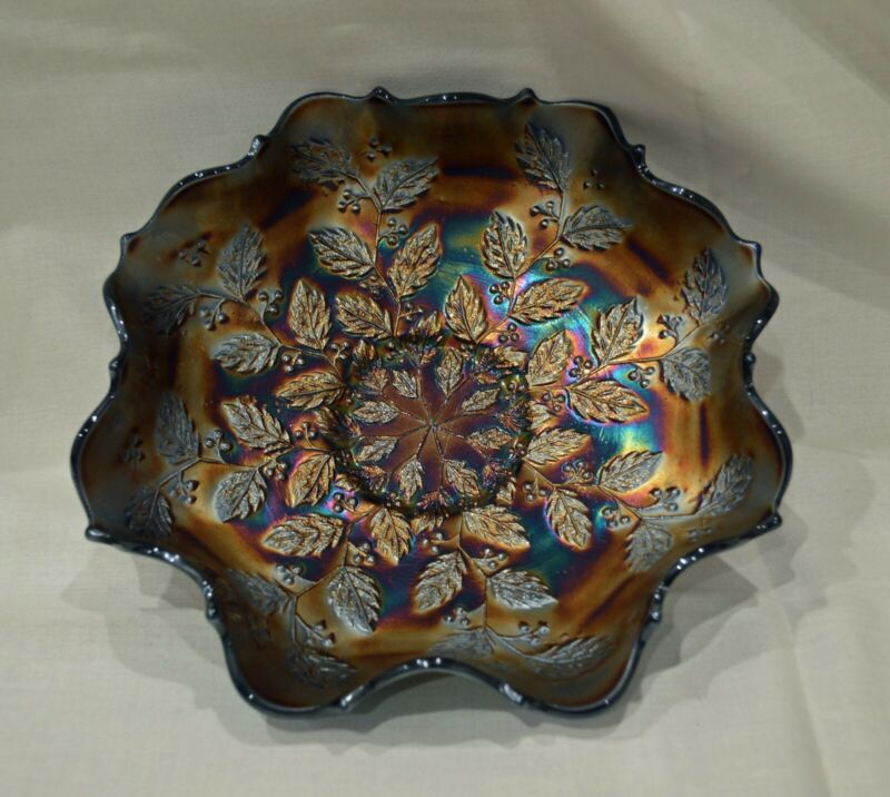 Antique Fenton Carnival Blue Iridescent Bowl  - Holly & Berries