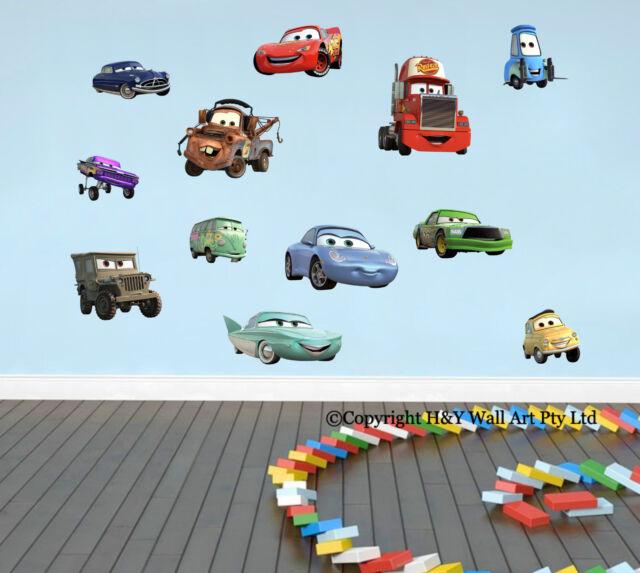 12 Pcs Full Set Disney Cars Wall Stickers Removable Decal Boys Nursery Decor Art