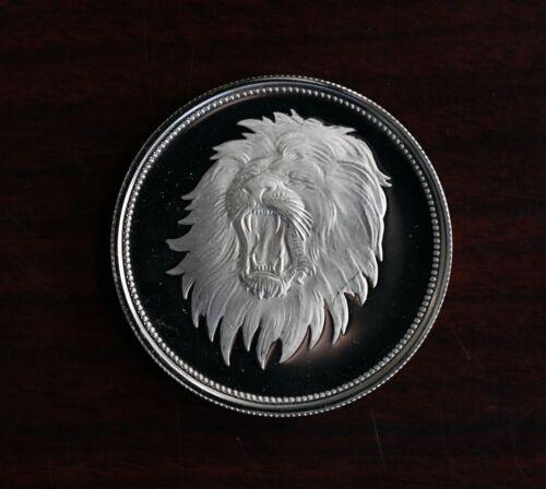 1969 Yemen Arab Republic Proof Silver 2 Rials Azzubairi Memorial Lion KM #4