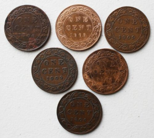 6 Coin Lot 3-1906 3-1909 Canada Large Cent Coins 1c Canadian Pennies You Grade
