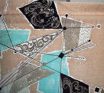 Vintage mid century barkcloth abstract Eames era atomic fabric drapery curtains!