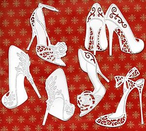 12 NEW TATTERED LACE SHOE DIE CUTS - 5 DESIGNS WHITE TOPPER/LADY/PARTY ART DECO