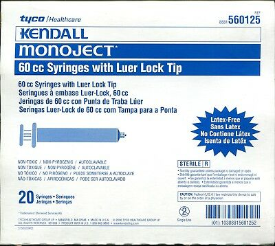 Kendall Monoject 60cc Luer-lock Syringes 20box