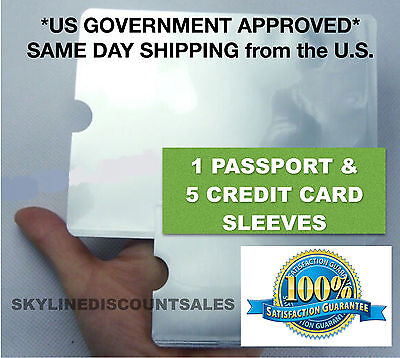 5pcs Credit Card + 1pc Passport RFID Blocking Sleeve Secure Protection Shield