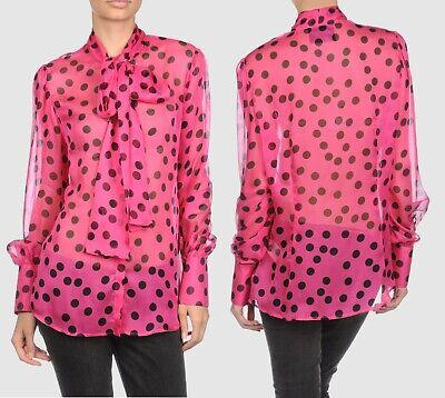D&G Dolce und Gabbana Langarm Bluse Polka Dot Schalkragen fuchsia Gr. 36