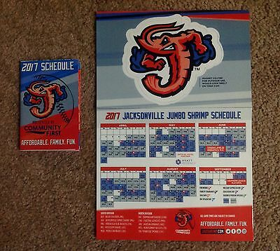 Jacksonville Jumbo Shrimp Minor League Baseball Magnet Pocket Schedule Car Decal