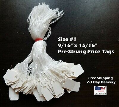 Size 1 Small Blank White Merchandise Price Tags W String Retail Jewelry Strung