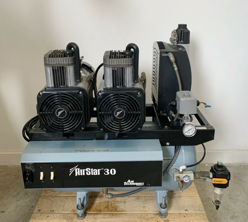 Air Techniques AirStar 30 Dental Air Compressor System Dual Head Oil-less Nice!