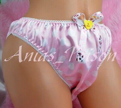Pink Polka Dot Panties - VALENTINES DAY Satin POlka Dot SISSY PINK mens lined full bikini panties S-XXL