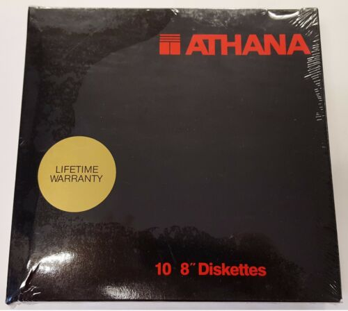 8 INCH FLOPPY DISKS. SEALED RETAIL BOX OF 10. ATHANA BRAND SS/SD 32 HARD SECTORS