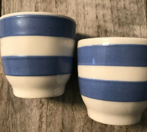 "2 Vintage style  Cornishware  Kitchen Ware Blue & White Egg Cup England 2"" x 2"""