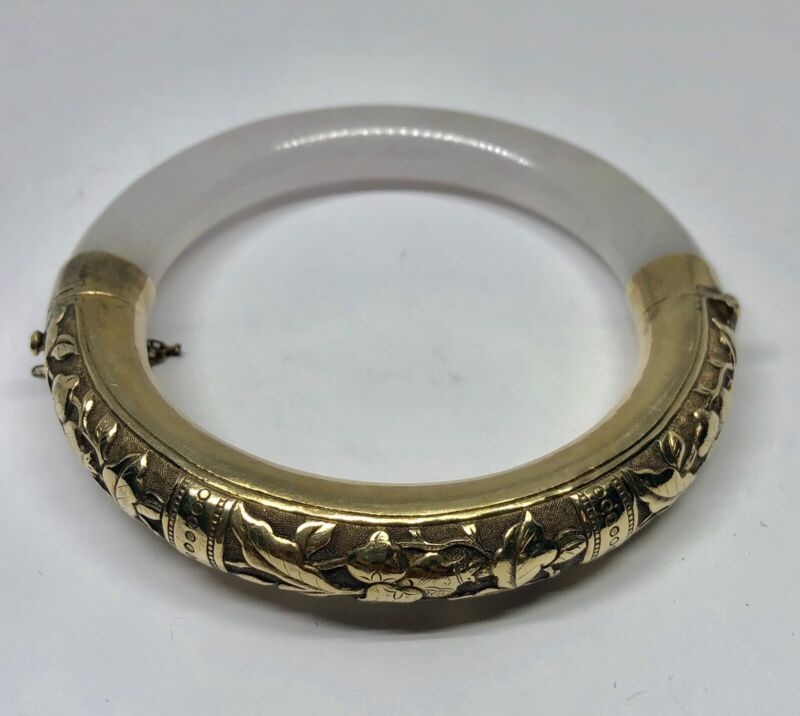 Vintage Gold Washed Silver Icy White Jadeite Jade Chinese Bangle Bracelet (A)