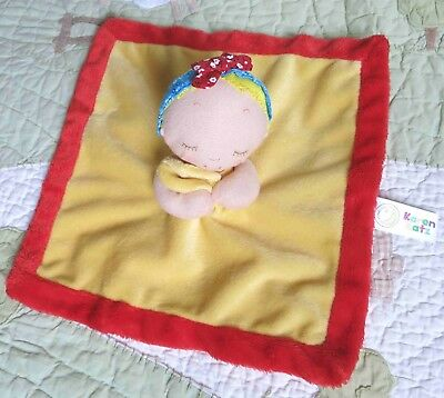 6171a4efb78 Animal Adventure Yellow Karen Katz Baby Doll w Red Hair Bow Security  Blanket EUC