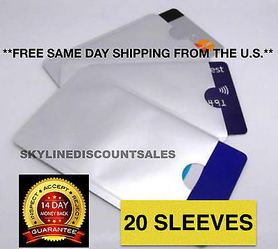 20 RFID Credit Card & Identity Theft Protection Sleeves.