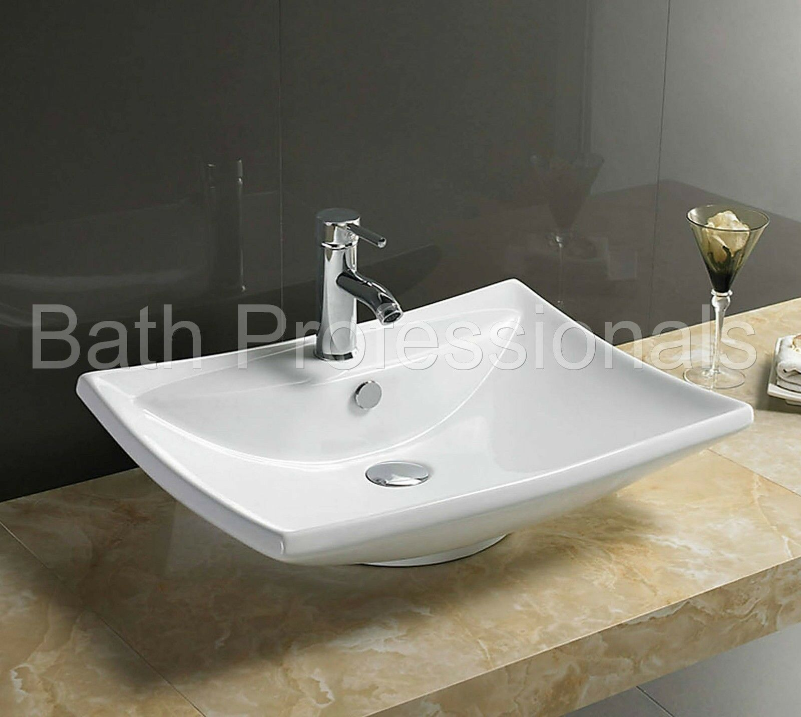 Basin Sink Countertop Ceramic Bathroom Cloakroom Wall Hung Mounted Square Wh72 Ebay