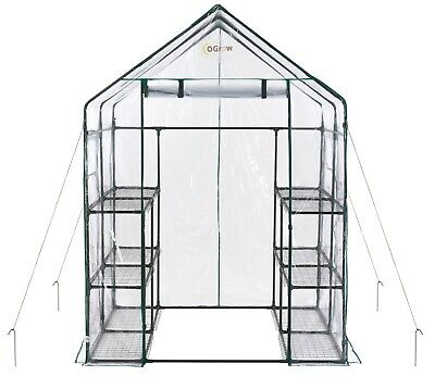Ogrow Portable Walk In Greenhouse - 3 Tier 12 Shelf Large PVC Garden Greenhouse