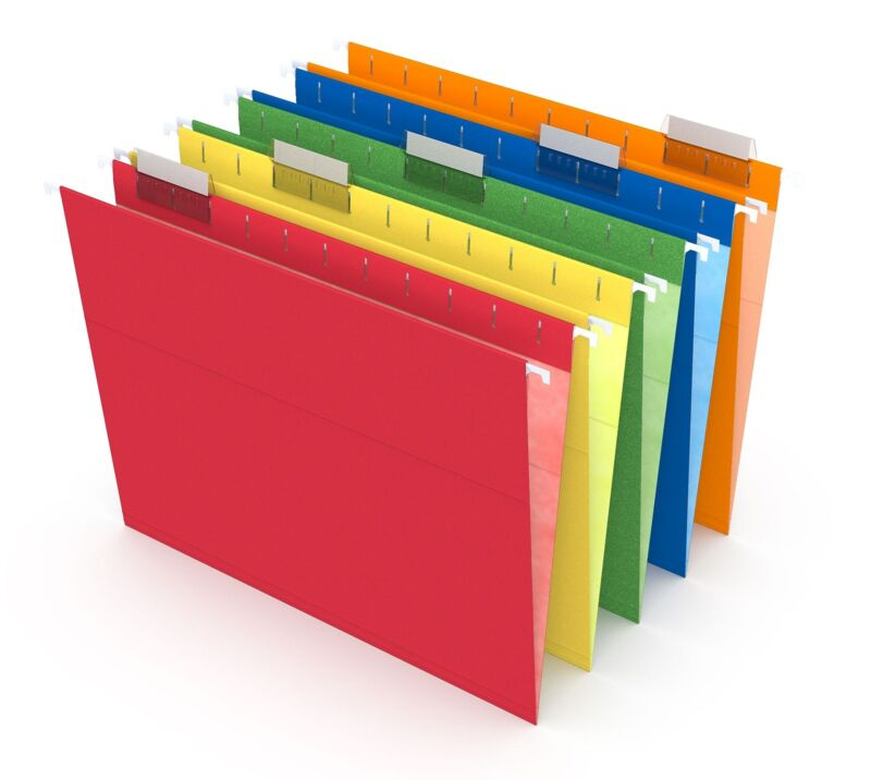 MyOfficeInnovations Hanging File Folders 5 Tab Letter Size Assorted 25/Box
