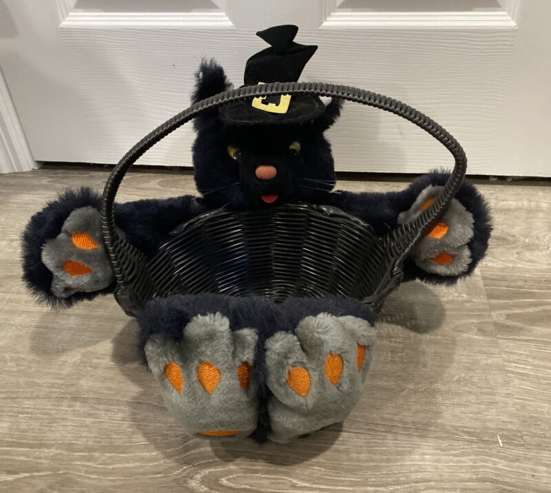 Halloween Party Trick Or Treat Black Cat Candy Basket ® Fact Games & Gifts