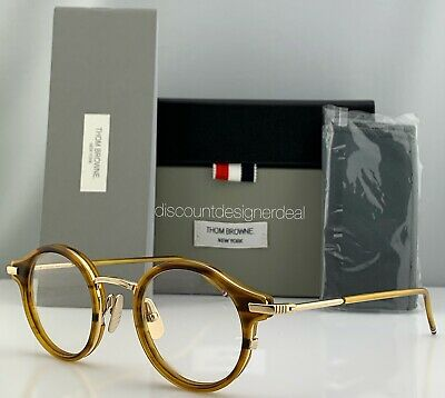 Thom Browne Optical Frame Walnut Gold Metal TB-807-C-WLT-GLD Eyeglasses Small 45 - Eyeglasses Brown Metallic Frame
