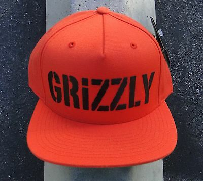 Grizzly Griptape X Supply Co  Hd Stamp Logo Orange Black Snapback Hat