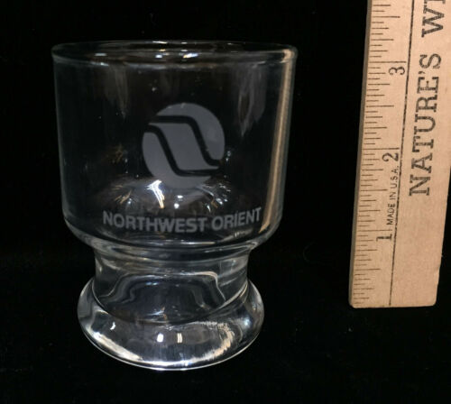 Northwest Orient Airlines NWA Shot Glass Etched Logo Liquor Cordial Vintage