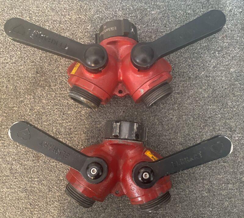"2 ELKHART BRASS FIREHOSE COUPLER ADAPTERS 1.5 NH 1 1/2"" INLET X(2) 1 1/2"" OUTLET"