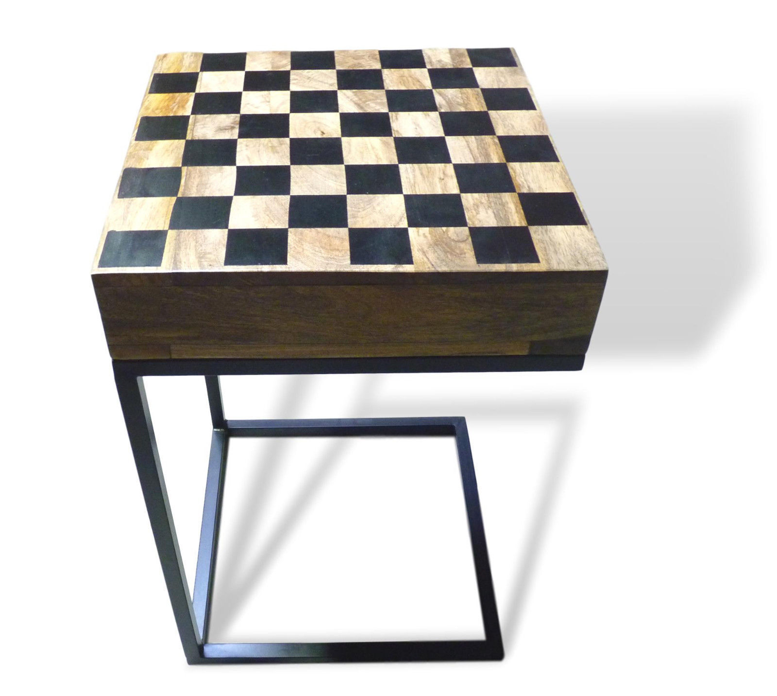 Photo Chess table Game table Solid Wood with Drawer C Table Iron legs Vintage Retro