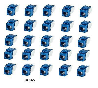 Cat5e Insert (20x Cat5e RJ45 Punch Down Network LAN Snap-in Slim Keystone Insert Jack Blue )