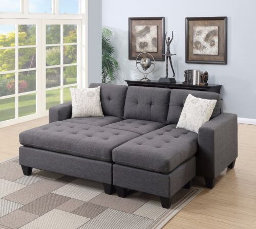 Modern Sectional Ottoman Blue Grey Polyfiber Accent Tufted Plush Seating Chaise