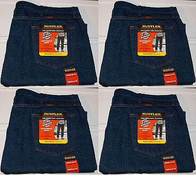 Big Mens Wrangler Jeans - Rustler Wrangler Men's Big & Tall Regular Fit Straight Leg Dark Blue Denim Jeans