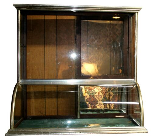 Antique Flat-Top Nickel & Wood Jewelry Showcase w/ Teal Felt & Mirrored Back